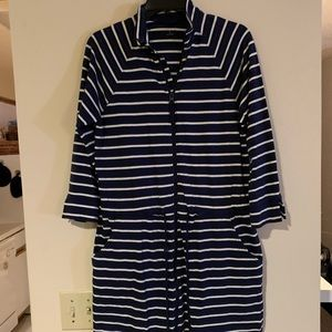 Navy and White Striped Zip-up Dress
